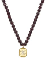 Lola Rose London Celestial Sunburst Bead Necklace Garnet