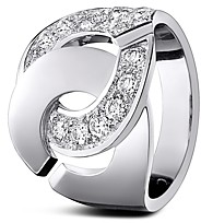 Dinh Van 18K White Gold Menottes Ring with Diamonds