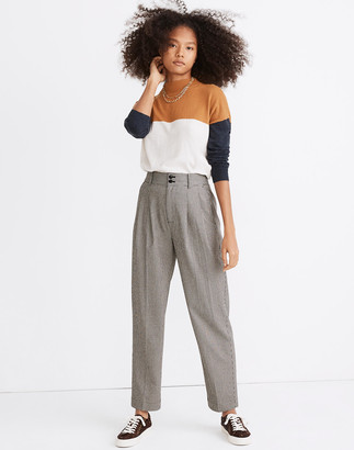 Madewell Pleated Taper Wide-Leg Pants in Mini Houndstooth