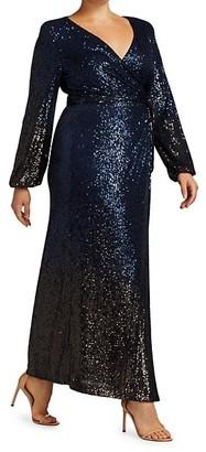 Marina Rinaldi, Plus Size Ombre Sequin Faux-Wrap Dress