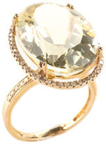 RARITIES 10 KT Gold Diamond Trim Oval Prasiolite Cocktail Ring Sz 7