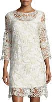 Marina Metallic Lace Bell-Sleeve Dress
