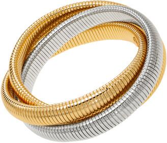 Janis Savitt High Polished Double Yellow Gold and Rhodium Triple Cobra Bracelet