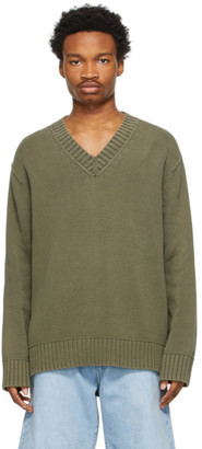 Acne Studios Khaki Cotton V-Neck Sweater