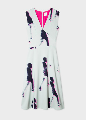 Paul Smith Women's Mint 'Walker' Print V-Neck Midi Dress