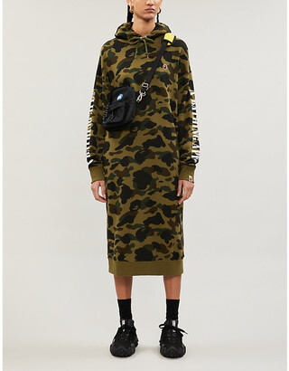 BAPE Camouflage-print cotton-jersey hoody dress