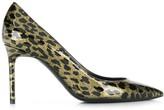 Saint Laurent glitter-effect leopard print pumps