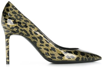 Saint Laurent glitter-effect leopard print pumps