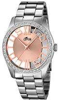Lotus Women's Quartz Watch with Rose Gold Dial Analogue Display and Silver Stainless Steel Bracelet 18126/1