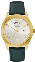 Guess W0792G9 Analog Goldtone Case Green Leather Strap Watch
