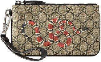 Gucci Kingsnake print GG Supreme iPhone pouch