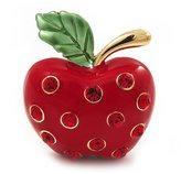 Avalaya Bright Red Crystal Apple Brooch In Plated Metal