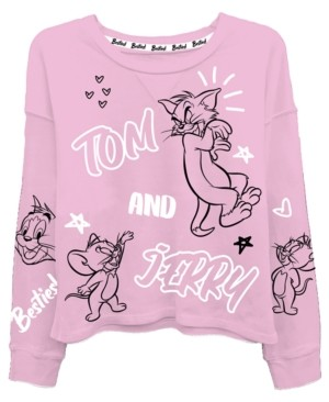 Warner Brothers Juniors Tom & Jerry Graphic Print Top
