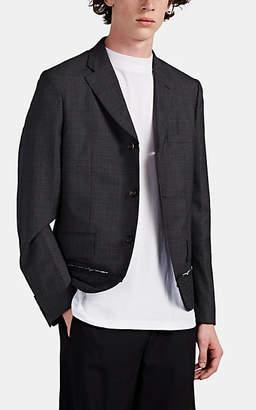 Comme des Garcons Homme Deux Men's Felt-Inset Plaid Wool Three-Button Sportcoat - Gray