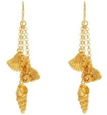 Aurelie Bidermann Aguas Shell-charm Gold-plated Drop Earrings - Womens - Gold