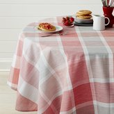 "Crate & Barrel Sorbet Plaid 60"" Round Tablecloth"