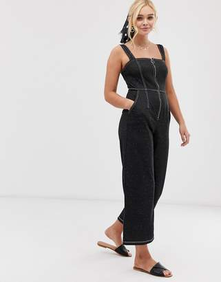 Gilli culotte jumpsuit with contrast stitching-Black