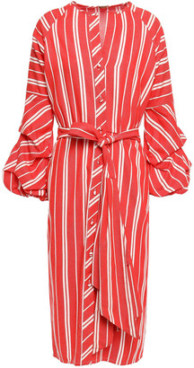 Johanna Ortiz Santa Fe Belted Striped Linen Midi Dress