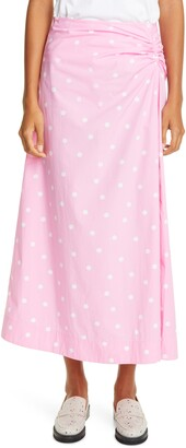 Ganni Polka Dot Print Organic Cotton Midi Skirt