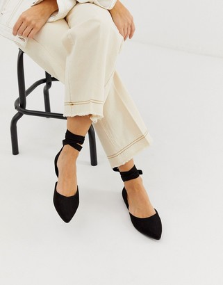 London Rebel pointed ballet flats with ankle tie in black
