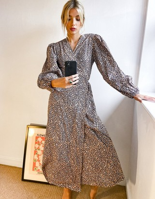 Glamorous relaxed wrap midi dress in mini ditsy floral