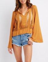 Charlotte Russe Crochet Inset Bell Sleeve Top