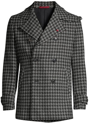 Isaia Houndstooth Double-Breasted Wool & Cashmere Overcoat