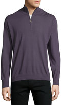 Brioni Zip-Front Cashmere Sweater, Purple Solid