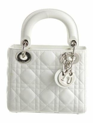 Christian Dior Mini Lady Bag w/ Strap White
