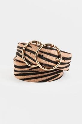 francesca's Ashley Tiger Double Circle Belt - Brown