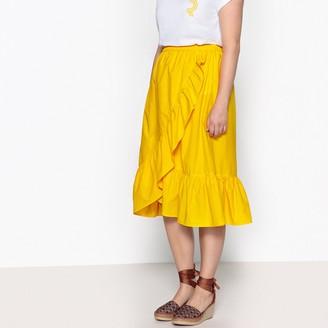 Castaluna Plus Size Flared Ruffled Midi Skirt