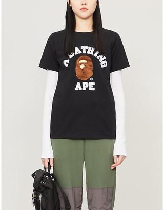 BAPE College logo-applique cotton-jersey T-shirt, Size: XXS