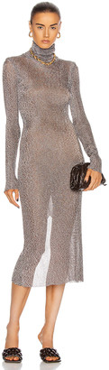 Thierry Mugler Long Sleeve Turtleneck Dress in Chocolat & Silver | FWRD