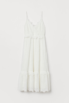 H&M Embroidered Ruffled Dress - White