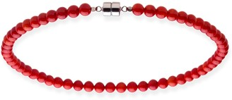 V3 Jewelry Sterling Silver 8mm Red Coral Bead Necklace