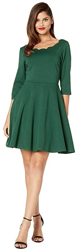 Unique Vintage Smak Parlour for UV Scalloped 3/4 Sleeve Charmed Fit-and-Flare Dress (Emerald Green) Women's Clothing