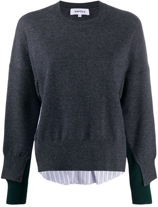 Enfold Shirt Panelled Wool Jumper
