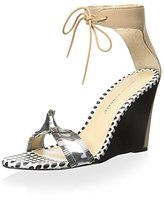 Loeffler Randall Women's Wedge Sandal with Tie Ankle Strap