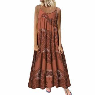 LOPILY 2019 Women Plus Size Casual Dress Loose Sleeveless Boho Dress Nationsl Style Print Work Dress Long Maxi Dress Green
