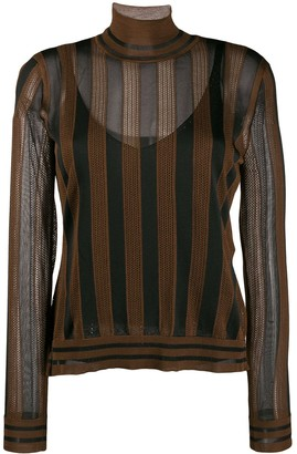 Fendi Pequin-striped high-neck jumper