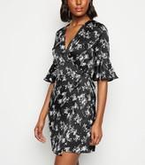 New Look Urban Bliss Floral Satin Wrap Dress