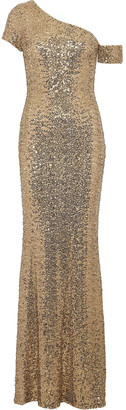 Badgley Mischka One-shoulder Fluted Sequined Mesh Gown