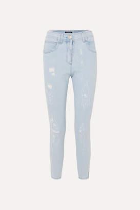 Balmain Distressed Mid-rise Skinny Jeans - Blue