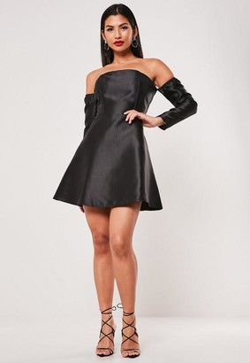 Missguided Black Bardot Long Sleeve A Line Dress