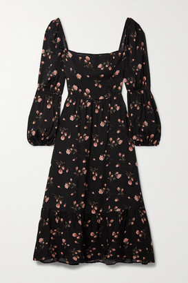 Reformation Mica Shirred Floral-print Crepe De Chine Midi Dress - Black