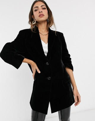 Asos Design DESIGN velvet oversized dad blazer-Black