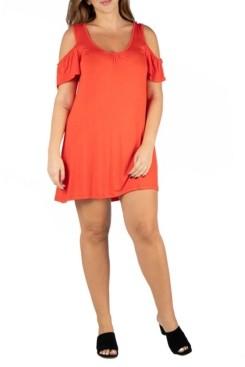 24seven Comfort Apparel Women's Plus Size Loose Fitting Cold Shoulder Mini Dress