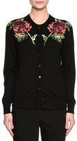 Dolce & Gabbana Sequined-Rose Crewneck Cardigan, Black/Pink