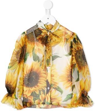 Dolce & Gabbana Kids Sunflower Print Blouse