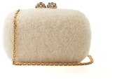 Alexander McQueen Queen and King skull-embellished shearling clutch